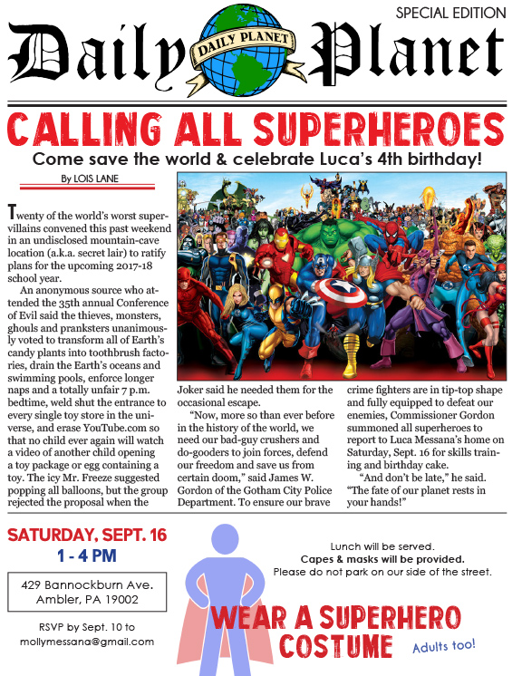 Calling all superheroes: Come save the world and celebrate Luca's fourth birthday!